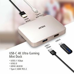 Aten UH3235 USB-C 4K Ultra Mini Dock s Power Pass-Through funkcijom