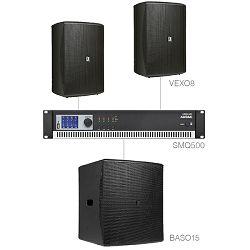 Audio sustav Audac Forte8.3 (Pojačalo SMQ500, zvučnici VEXO8, bass BASO15)
