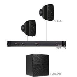 Audio sustav Audac Subli2.3 (Pojačalo DPA153, zvučnici ATEO2, bass BASO10)