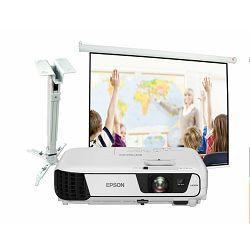 Projektor Epson EB-S31 + nosač + platno + montaža
