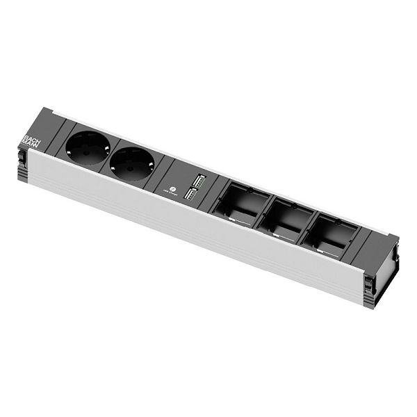 Stolna priključnica Bachmann CONI; 2x strujna utičnica,1x USB, 3x priključak